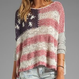 Free People American Flag sweater small